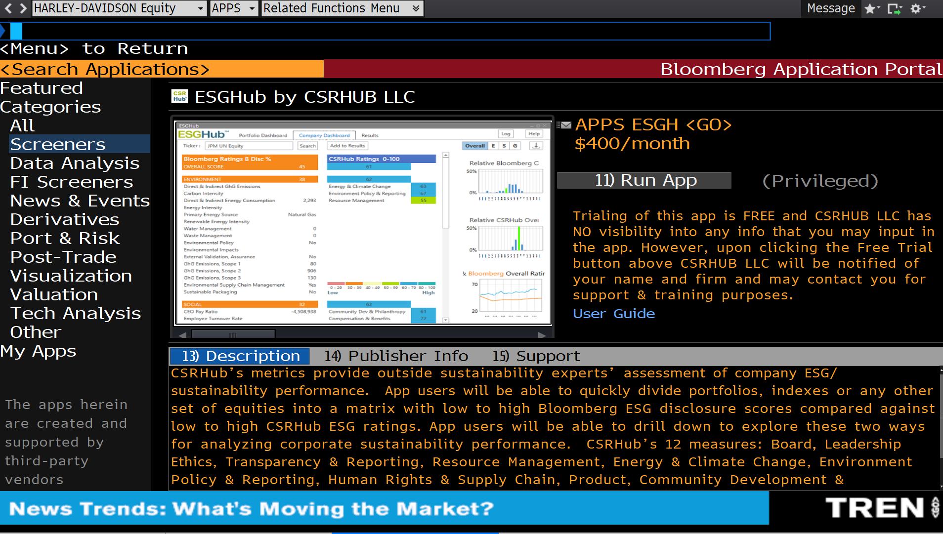 ESGHub by CSRHub LLC - A new App on the Bloomberg terminal